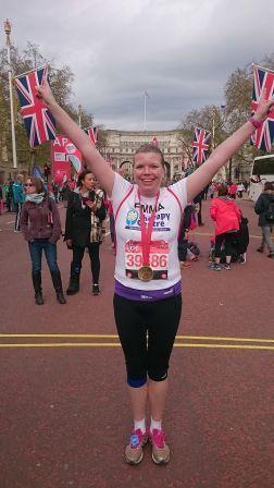 Emma Burns from Stevenage after the London Marathon 2016