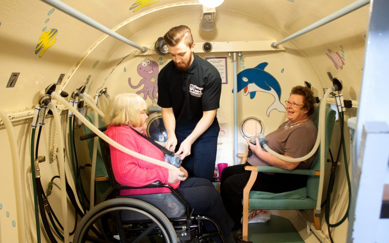 Patients getting ready for treatment in the oxygen chamber