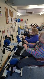 Patients using the static bikes in the Herts MS Therapy Centre gym