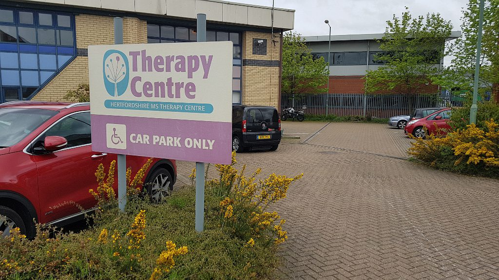 View of the therapy centre through the car park
