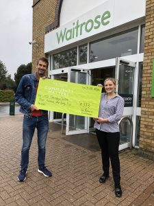 Comunity Fundraising cheque for Herts MS Therapy Centre from Waitrose stores